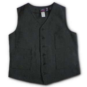 Button Front Vest - Herringbone