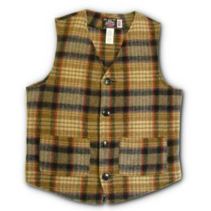 Traditional Button Vest - Gold, Black & Red Plaid