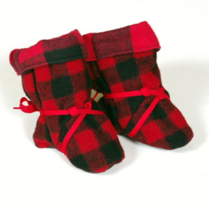 "Children's Booties - Red & Black 1"" Buffalo"