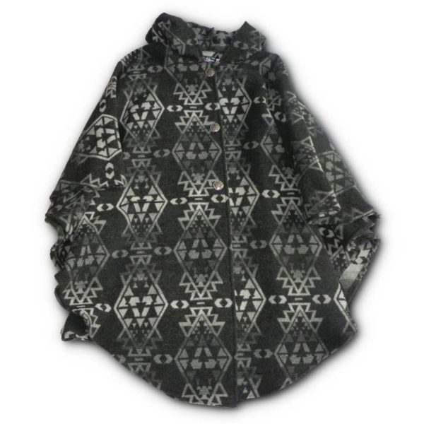 Traditional Women's Button Cape - Gray Indian Print