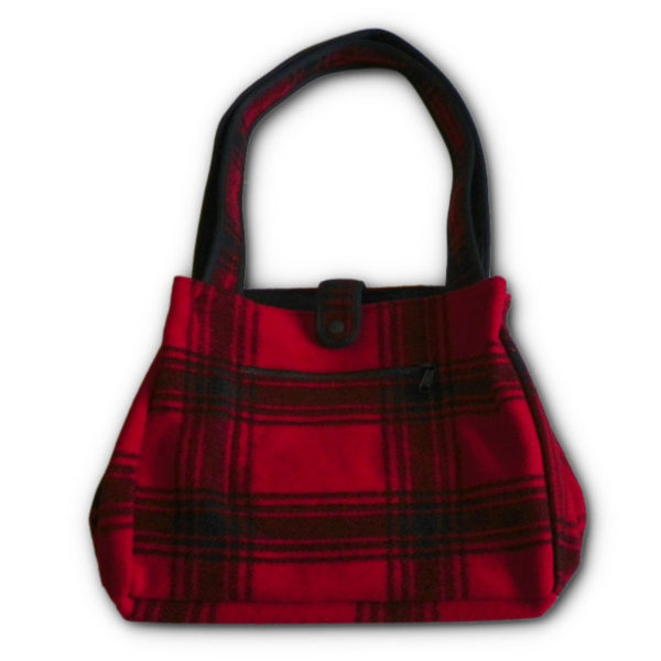 Wool Tote Bag - Bright Red & Black Muted