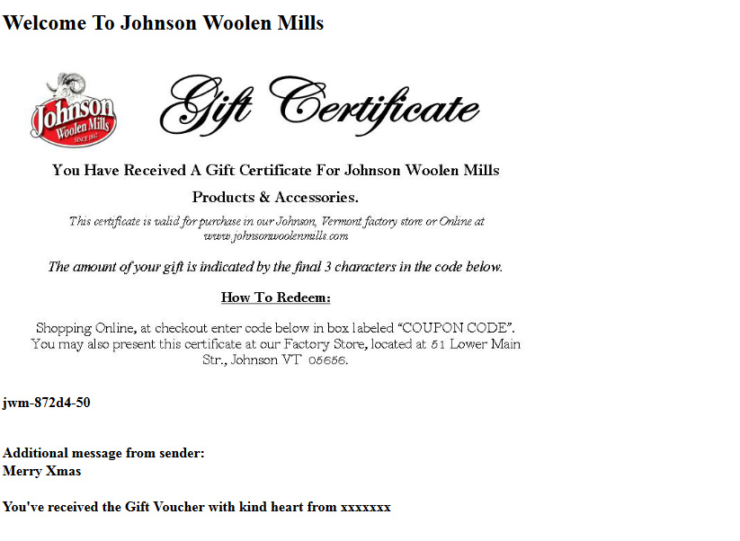 Gift Certificate Green Mountain Flannel