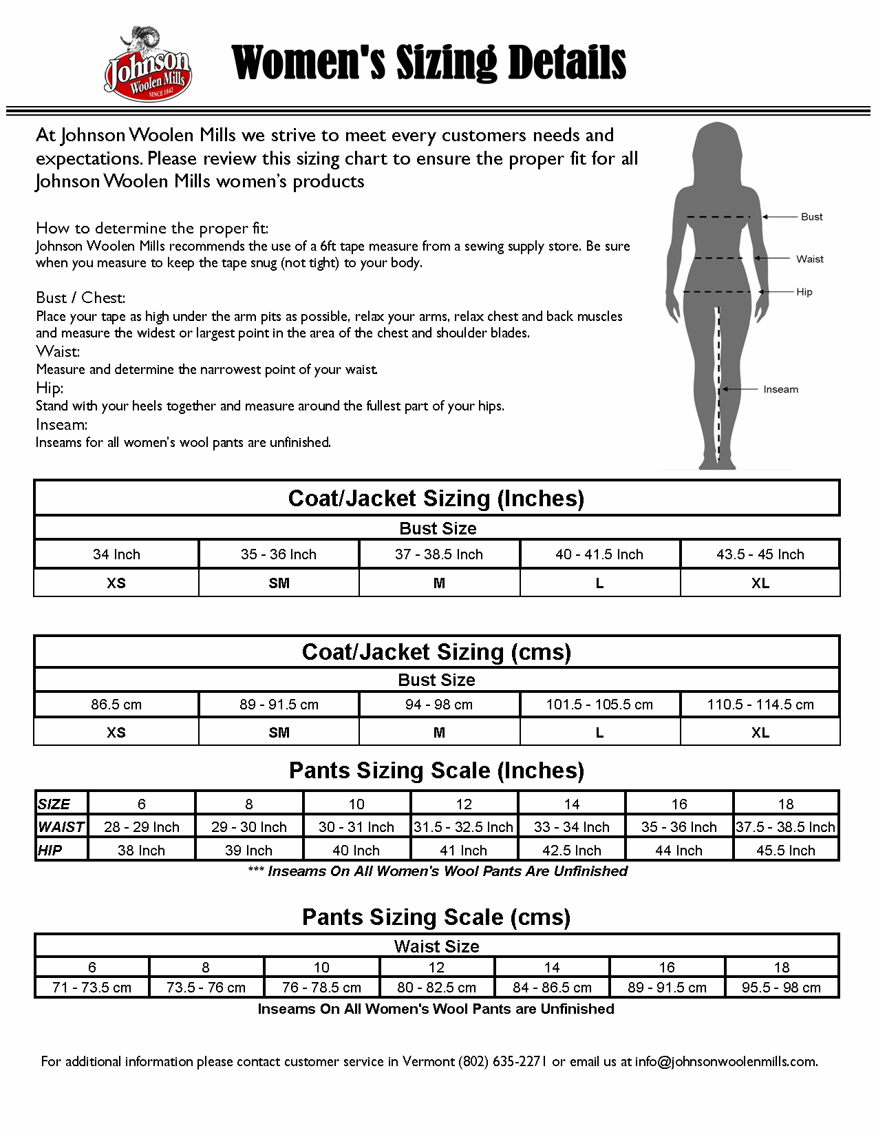"Women""s Sizing Chart For Johnson Woolen Mills"